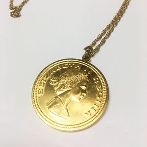 Anthropologie Dainty Gold Coin Layer Necklace